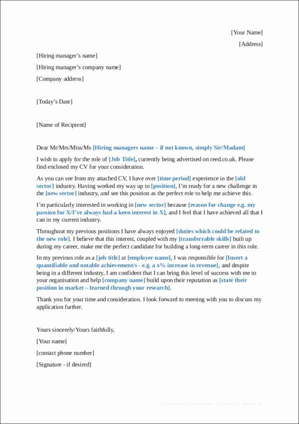 Sample Career Change Cover Letter Lovely Sample Career Change Cover Letter—guides Tips and Examples