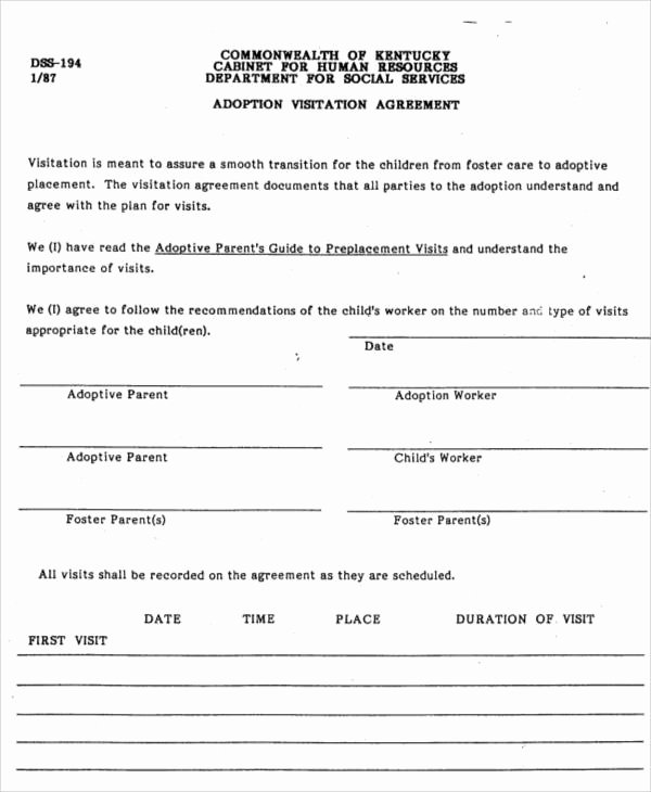 Sample Child Visitation Agreement Beautiful Printable Agreement Samples