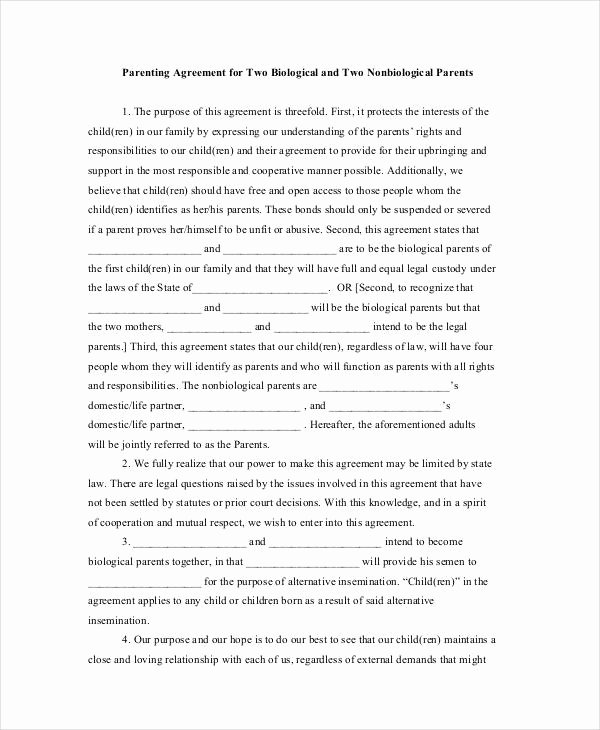 Sample Child Visitation Agreement Best Of Parenting Agreement Templates 8 Free Pdf Documents