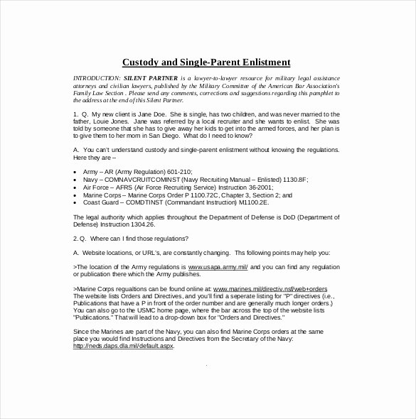 Sample Child Visitation Agreement Elegant 11 Custody Agreement Templates – Free Sample Example