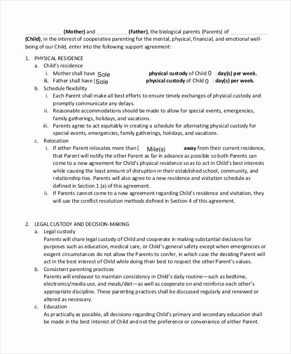 Sample Child Visitation Agreement Inspirational 10 Child Support Agreement Templates Pdf Doc