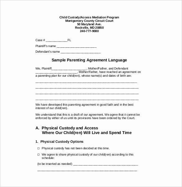 Sample Child Visitation Agreement Inspirational Custody Agreement Template 2018
