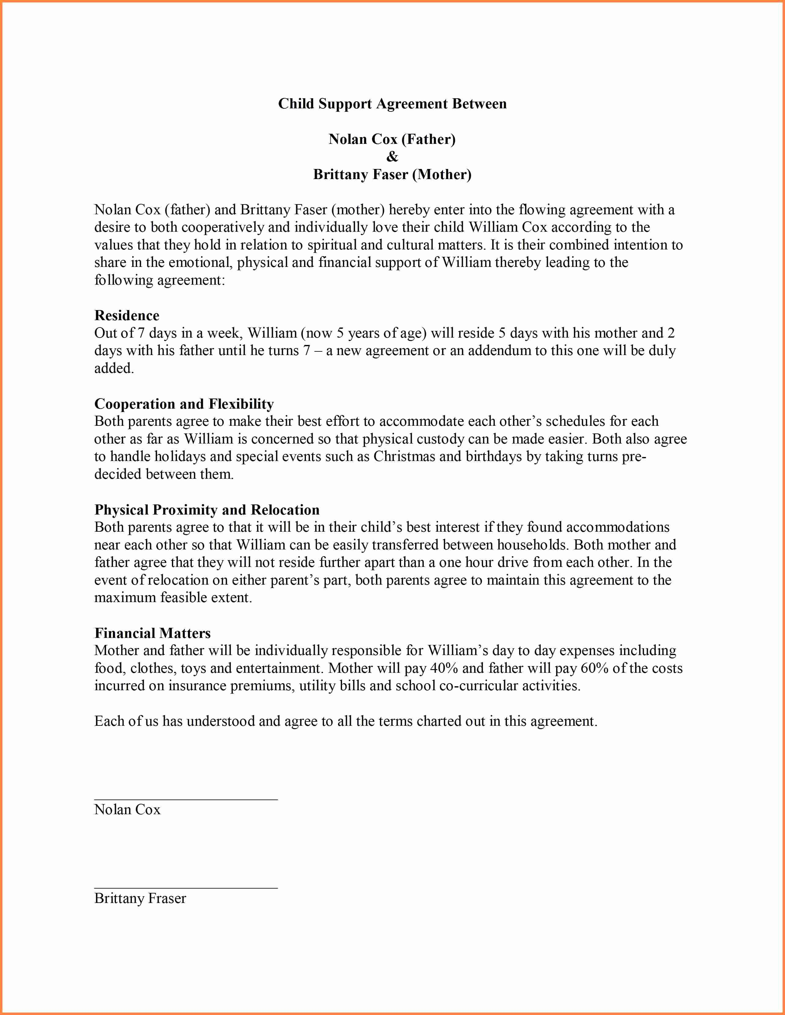 Sample Child Visitation Agreement New 9 Sample Child Support Agreement Letter Template