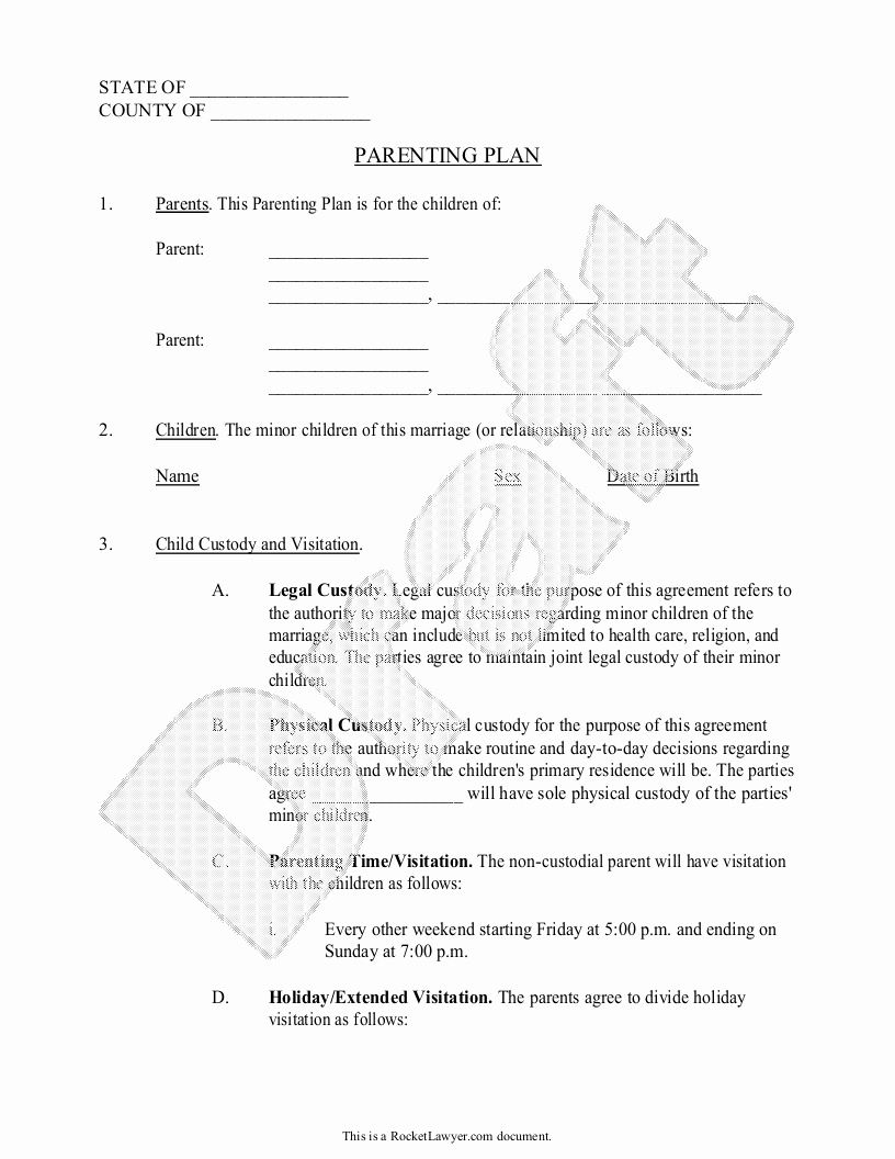 Sample Child Visitation Agreement Unique Parenting Plan Child Custody Agreement Template with