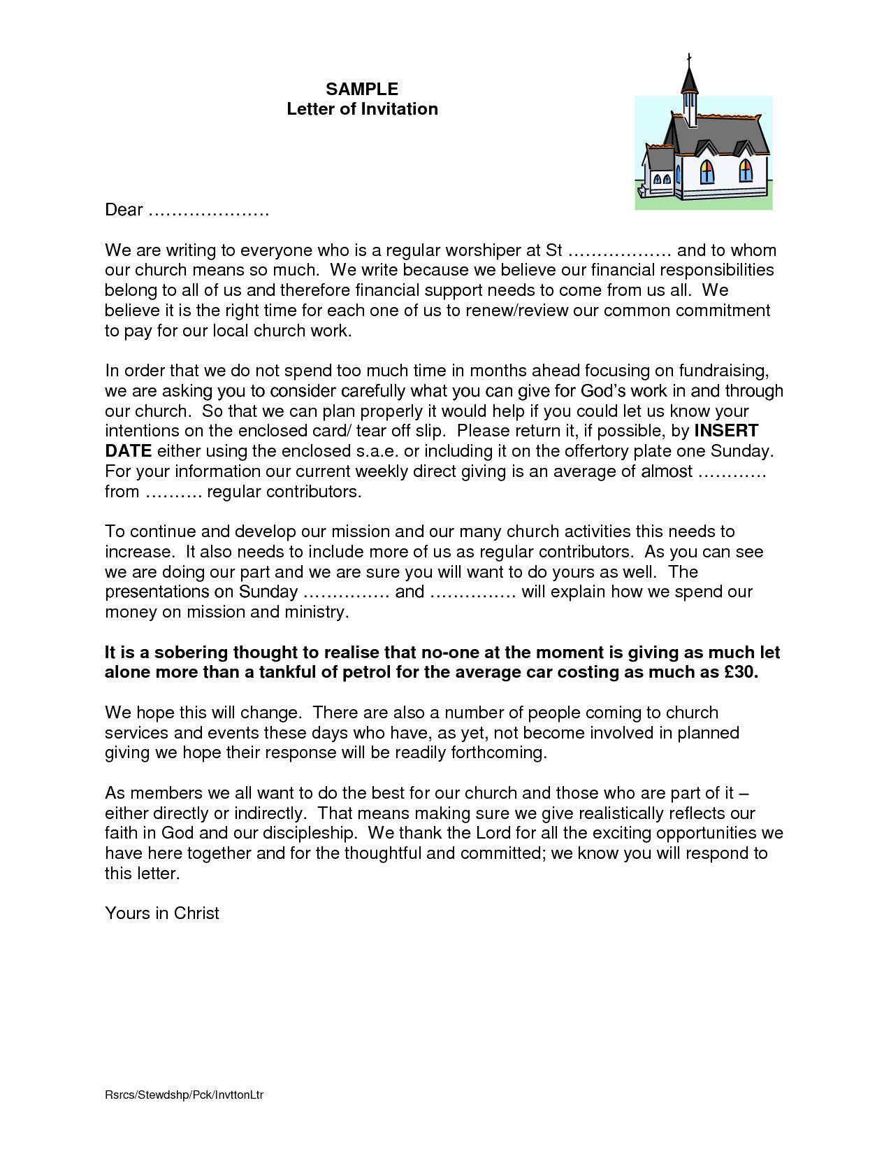 Sample Church Invitation Letter Best Of Letter Invitation to Preach