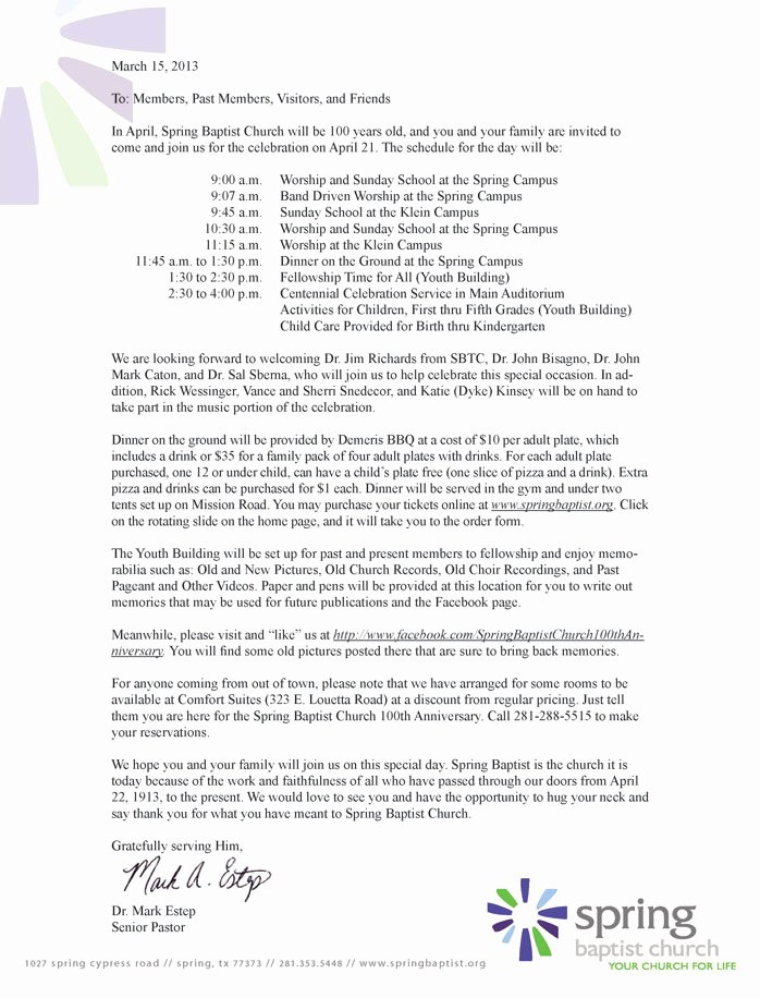 Sample Church Invitation Letter Inspirational Best S Of Church Invitation Letter to Service