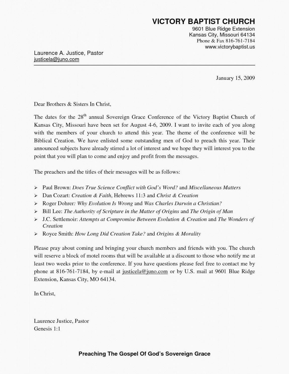 Sample Church Invitation Letter Luxury Church Invitation Letter to Other Churches