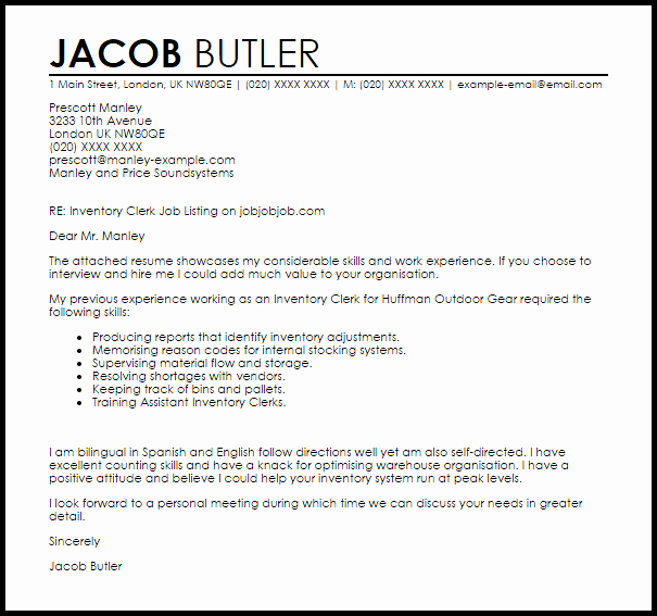 Sample Clerical Cover Letter Awesome Inventory Clerk Cover Letter Sample