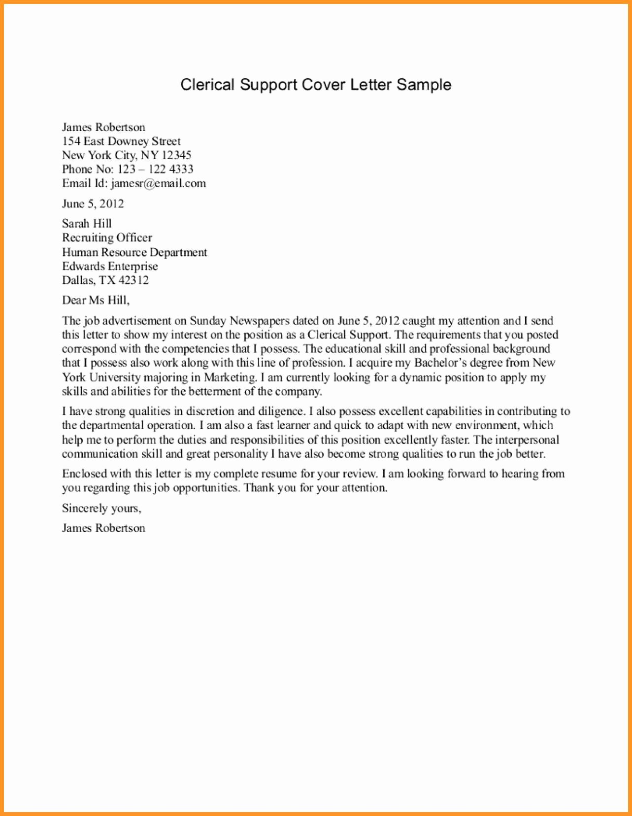 Sample Clerical Cover Letter Best Of 11 12 Clerical Cover Letter Examples