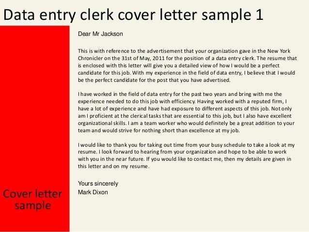 Sample Clerical Cover Letter Inspirational Data Entry Clerk Cover Letter