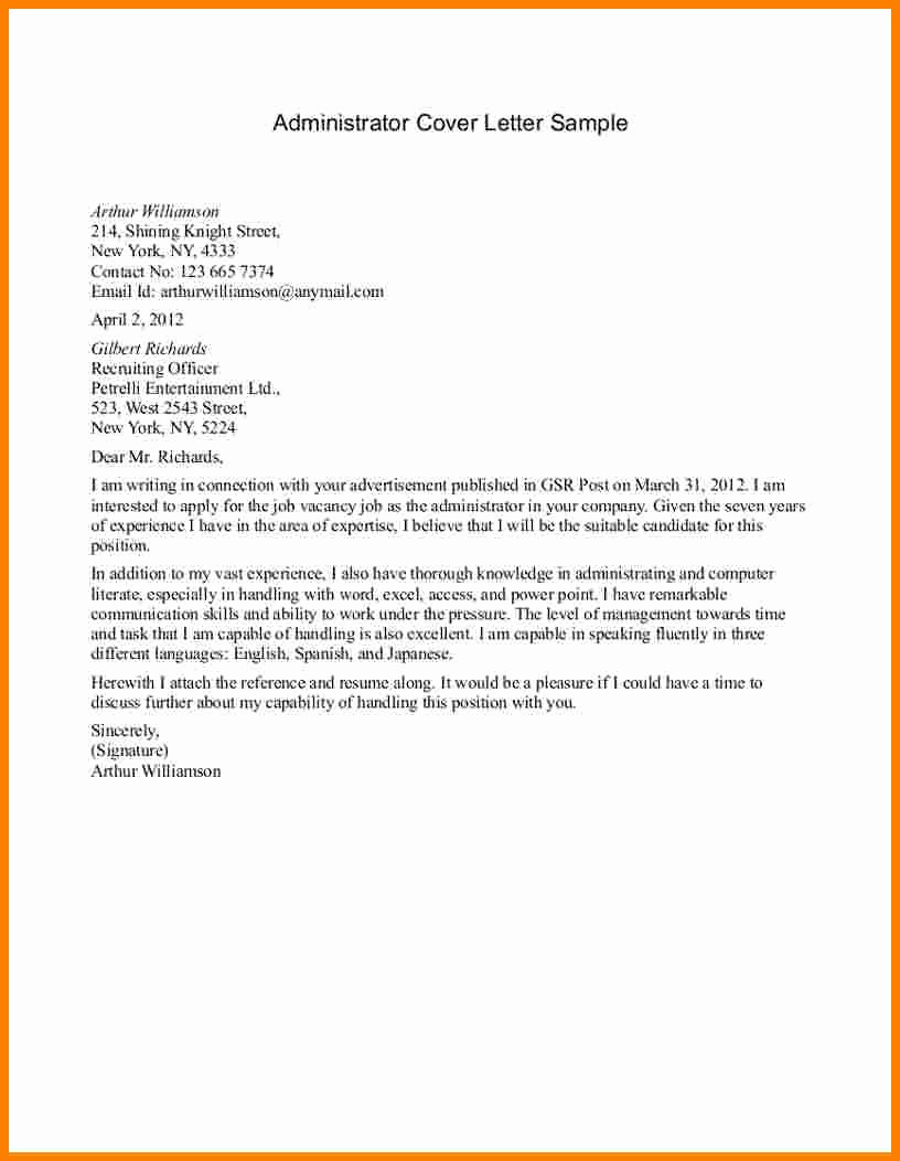 Sample Clerical Cover Letter Unique 6 Administrative Cover Letter Samples