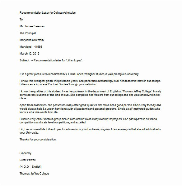 Sample College Recommendation Letter Beautiful 12 College Re Mendation Letters Doc Pdf