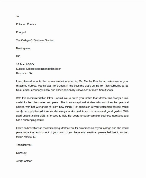 Sample College Recommendation Letter Beautiful Sample College Re Mendation Letter 6 Documents In Pdf