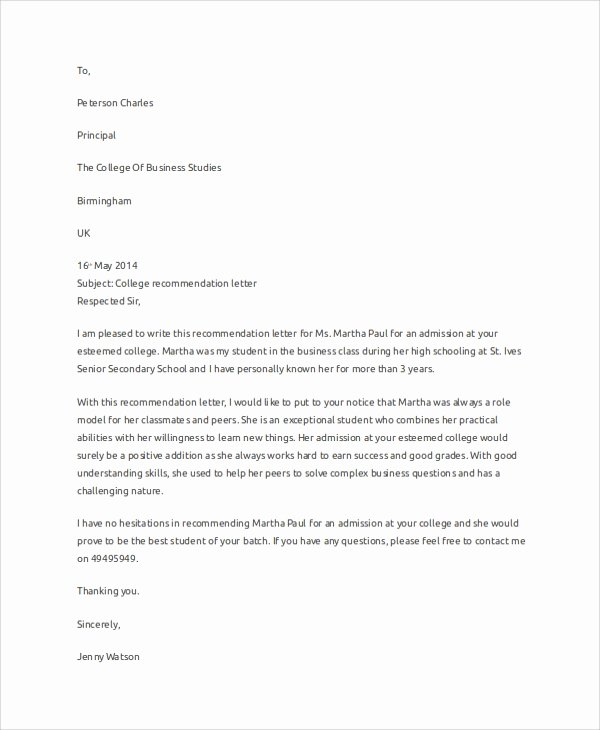 Sample College Recommendation Letter Beautiful Sample Letter Of Re Mendation 7 Examples In Word Pdf