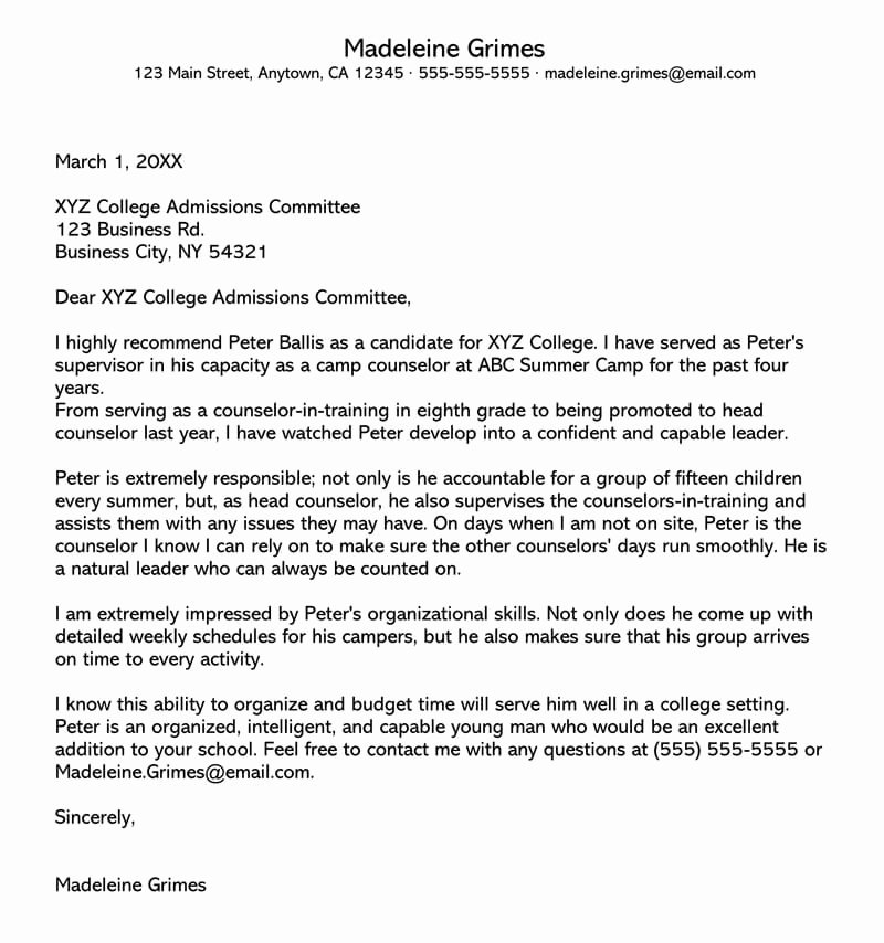 Sample College Recommendation Letter Best Of College Re Mendation Letter 10 Sample Letters & Free