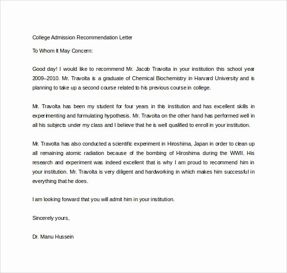 Sample College Recommendation Letter Best Of Free 20 College Re Mendation Letters In Pdf