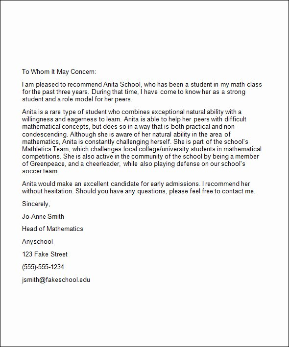 Sample College Recommendation Letter Best Of Re Mendation Letter for College Template
