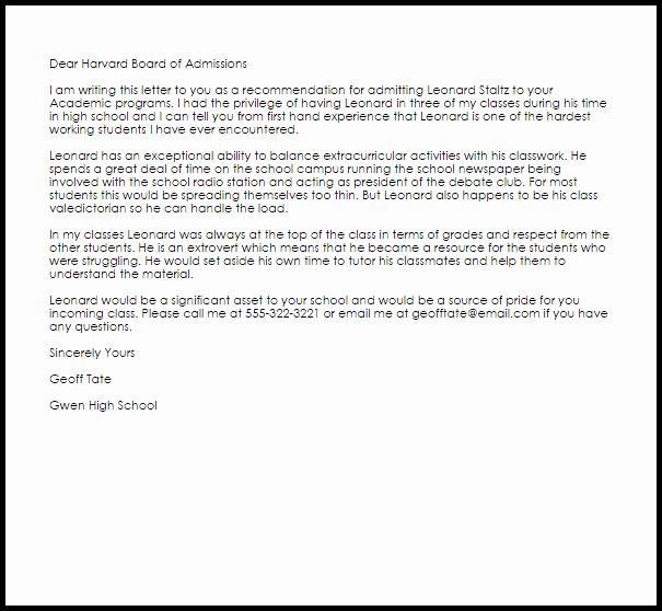 Sample College Recommendation Letter Fresh Academic Re Mendation Letter Example