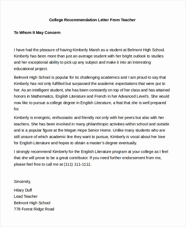 Sample College Recommendation Letter Fresh Free 7 Sample Teacher Re Mendation Letters In Pdf