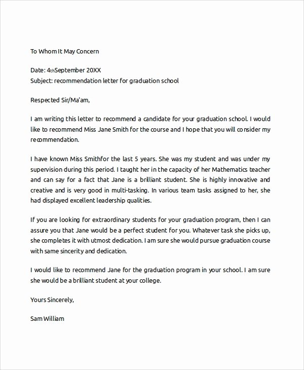 Sample College Recommendation Letter Inspirational Sample College Re Mendation Letter 6 Documents In Pdf