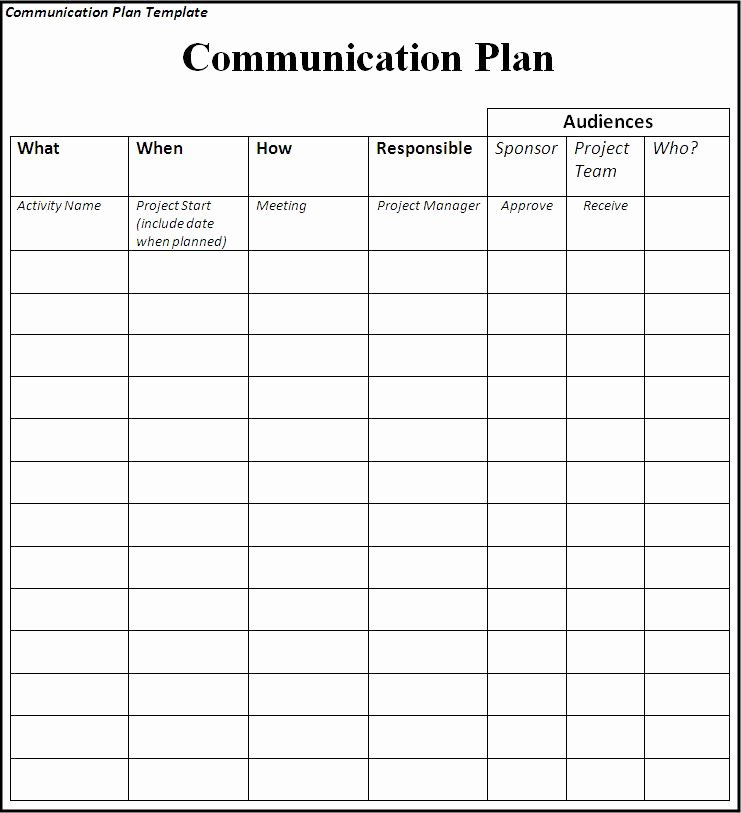 Sample Communications Plan Template New Munication Plan Template