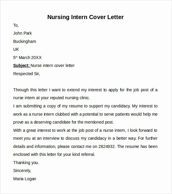 Sample Cover Letter for Nurse Beautiful Nursing Cover Letter Template 9 Free Samples Examples