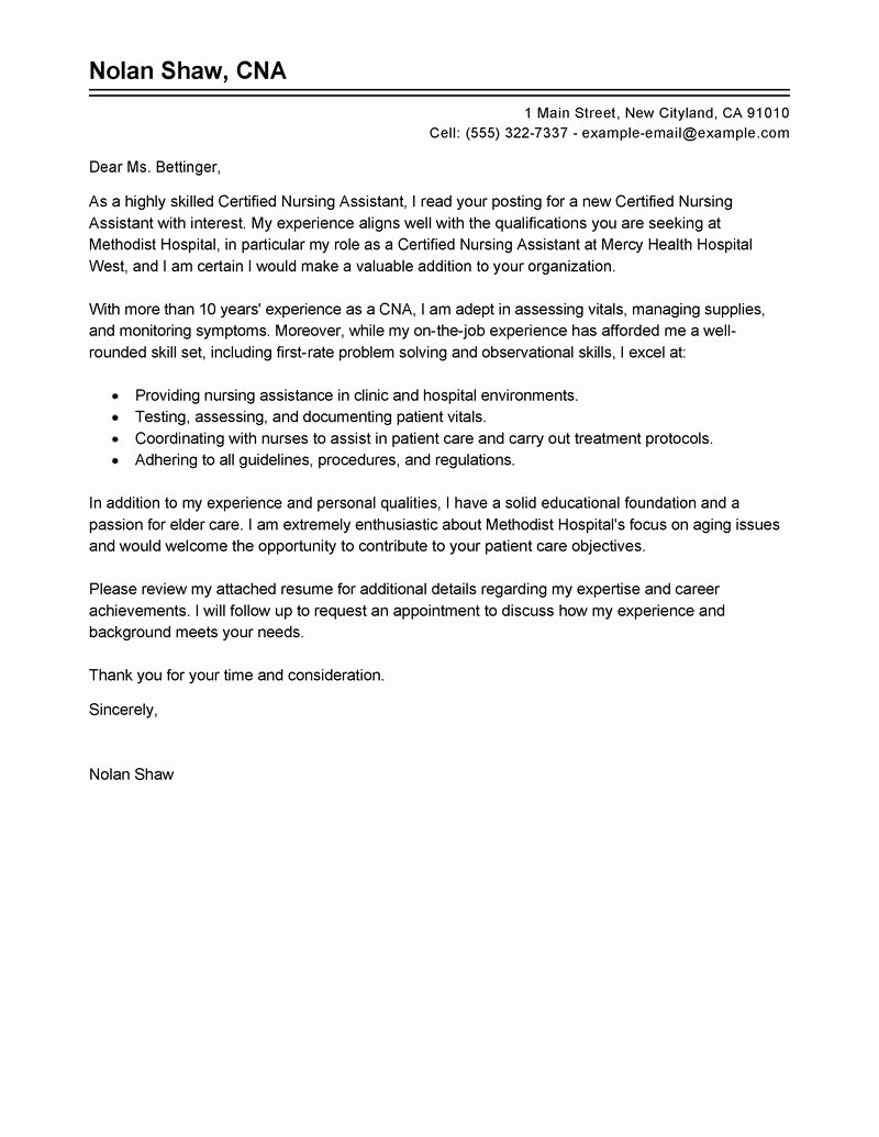 Sample Cover Letter for Nurse Elegant Leading Professional Nursing Aide and assistant Cover