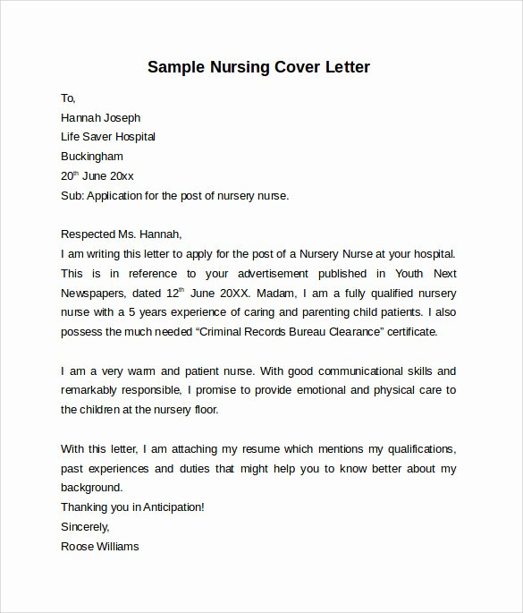 Sample Cover Letter for Nurse Inspirational Nursing Cover Letter Template 9 Free Samples Examples