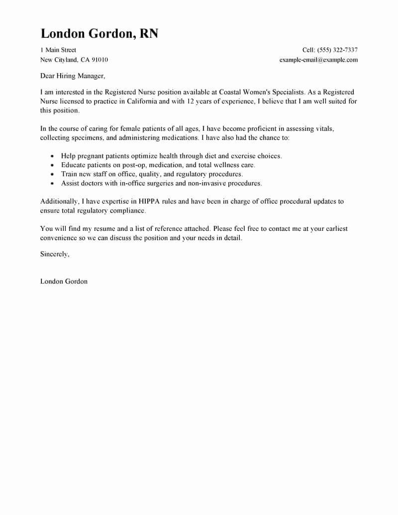 Sample Cover Letter for Nursing Awesome Best Registered Nurse Cover Letter Examples