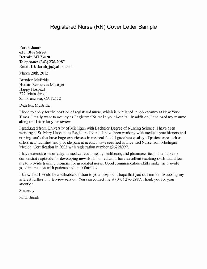 Sample Cover Letter for Nursing Awesome New Grad Nurse Cover Letter Example