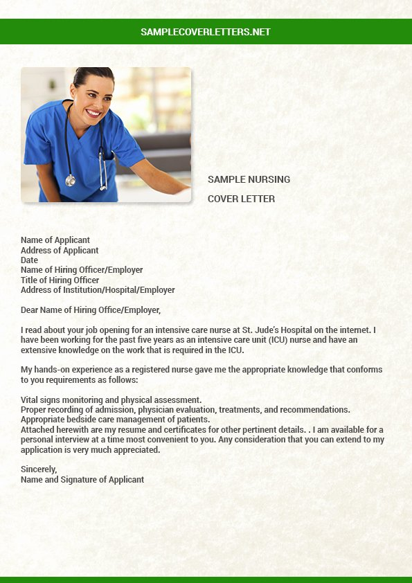 Sample Cover Letter for Nursing Beautiful Sample Nursing Cover Letter