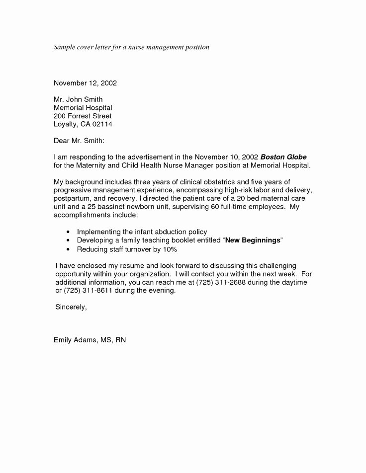 Sample Cover Letter for Nursing Fresh Sample Nursing Application Cover Letters