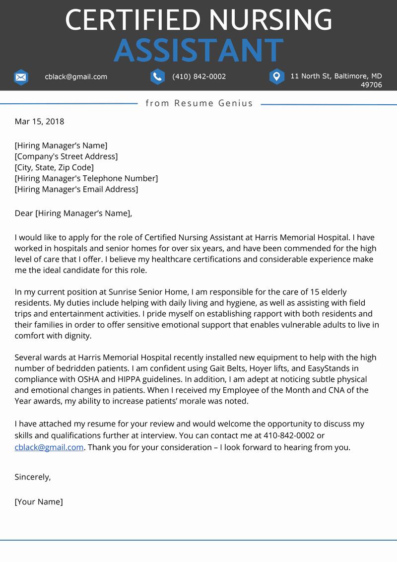 Sample Cover Letter for Nursing Unique Certified Nursing assistant Cna Cover Letter