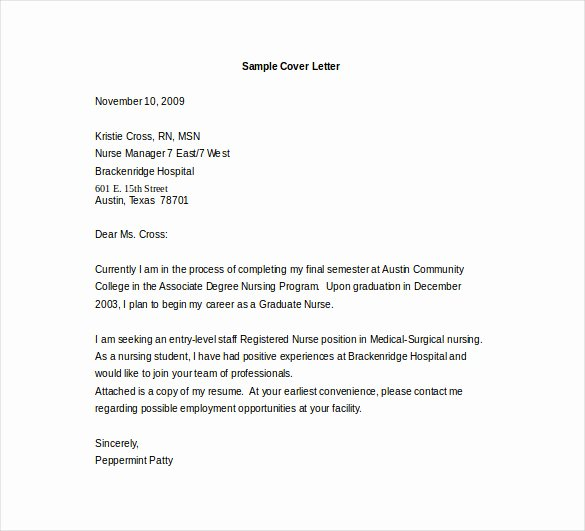 Sample Cover Letters Entry Level Luxury Entry Level Cover Letter Template 11 Free Sample
