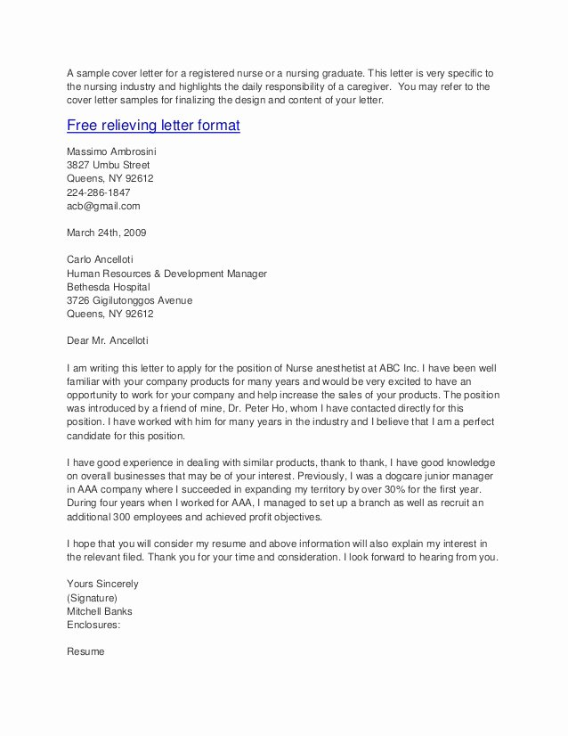 Sample Cover Letters for Nurses Elegant Sample Cover Letters for Nurses