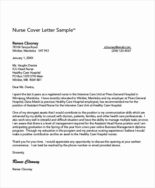 Sample Cover Letters for Nurses Unique 8 Nursing Cover Letter Example Free Sample Example