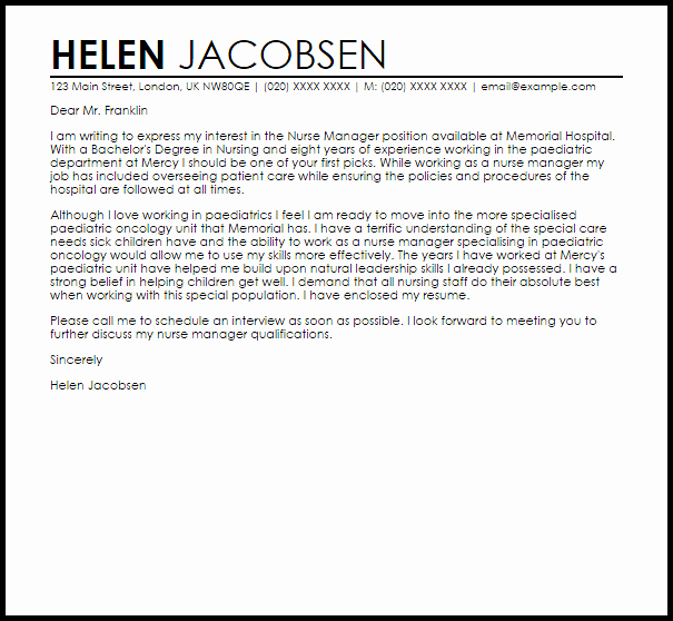 Sample Cover Letters for Nursing Best Of Nurse Manager Cover Letter Sample