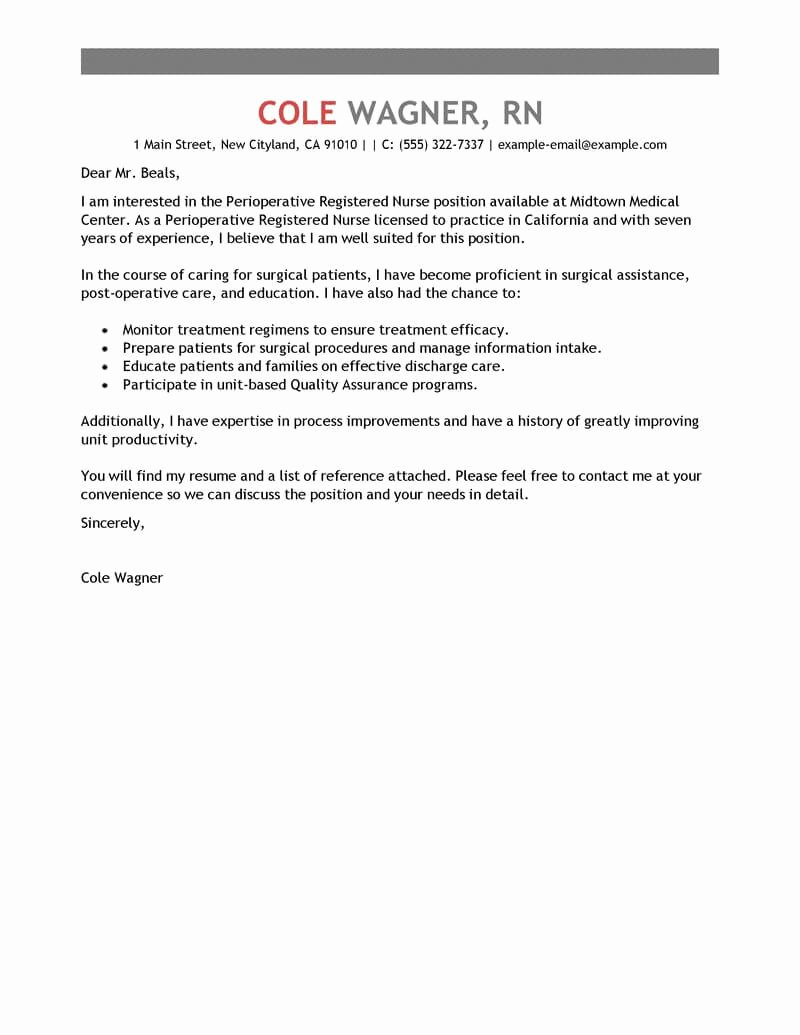 Sample Cover Letters for Nursing Unique Best Perioperative Nurse Cover Letter Examples