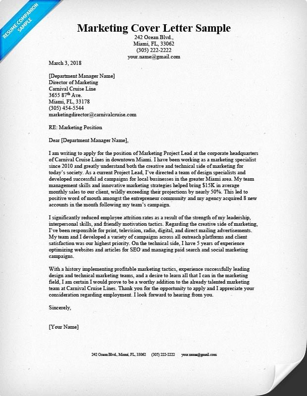 Sample Cover Letters Marketing Awesome Marketing Cover Letter Sample & Writing Tips