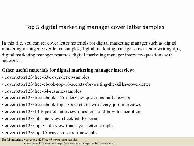 Sample Cover Letters Marketing Awesome top 5 Digital Marketing Manager Cover Letter Samples