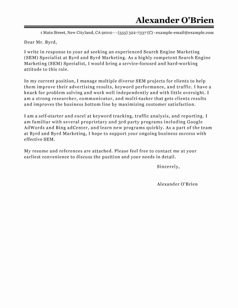 Sample Cover Letters Marketing Beautiful Best Sem Cover Letter Examples