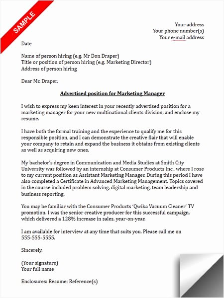 Sample Cover Letters Marketing Beautiful Marketing Manager Cover Letter Sample