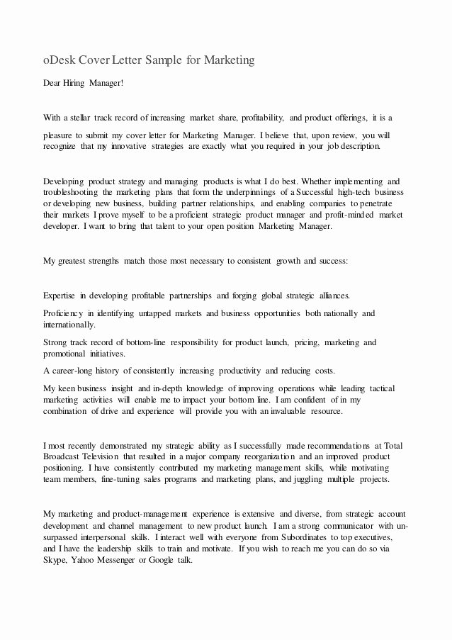 Sample Cover Letters Marketing Beautiful Odesk Cover Letter Sample for Marketing