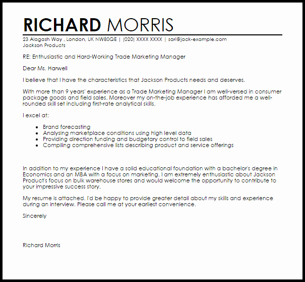 Sample Cover Letters Marketing Best Of Trade Marketing Manager Cover Letter Sample