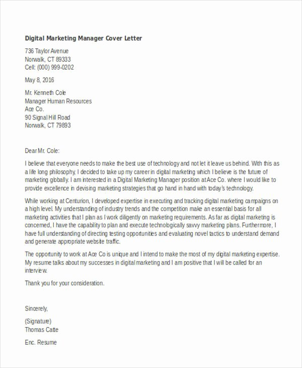Sample Cover Letters Marketing Inspirational 11 Marketing Cover Letter Templates Free Sample