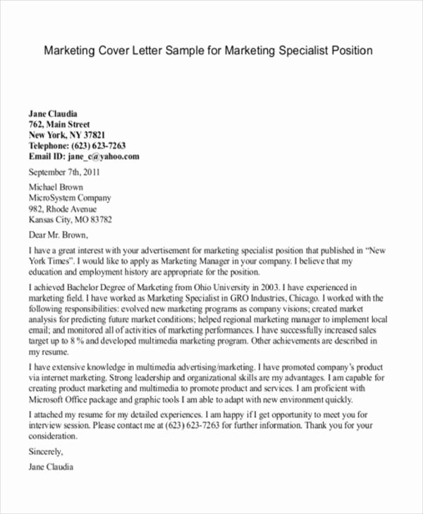 Sample Cover Letters Marketing Unique 11 Marketing Cover Letter Templates Free Sample