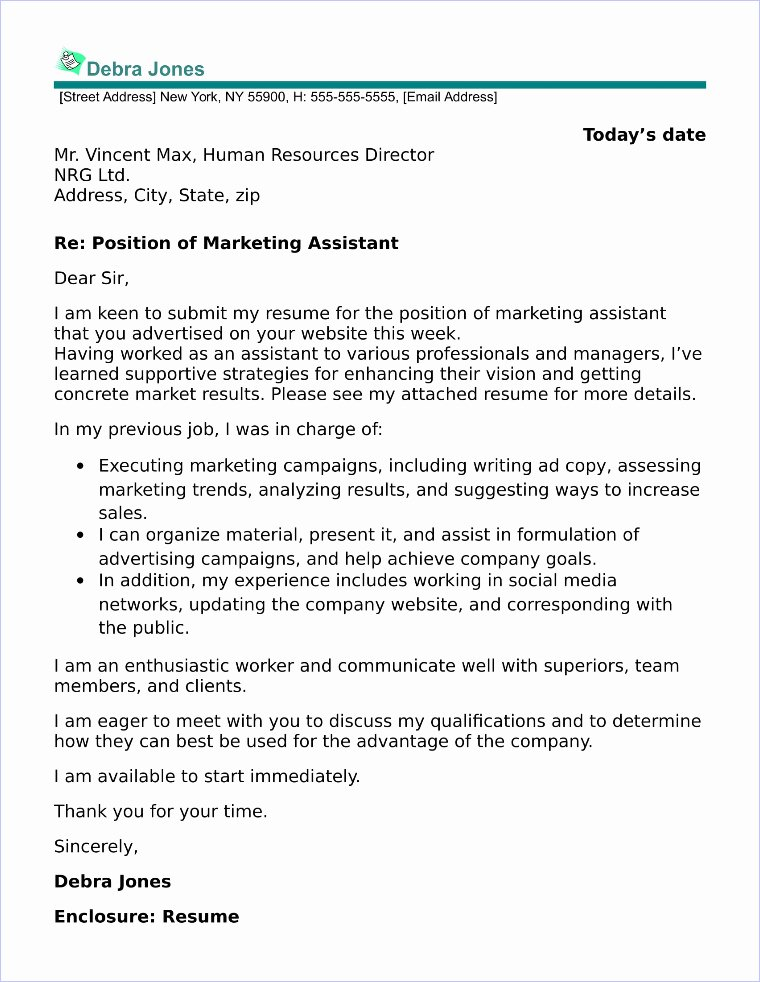Sample Cover Letters Marketing Unique Marketing assistant Cover Letter Sample