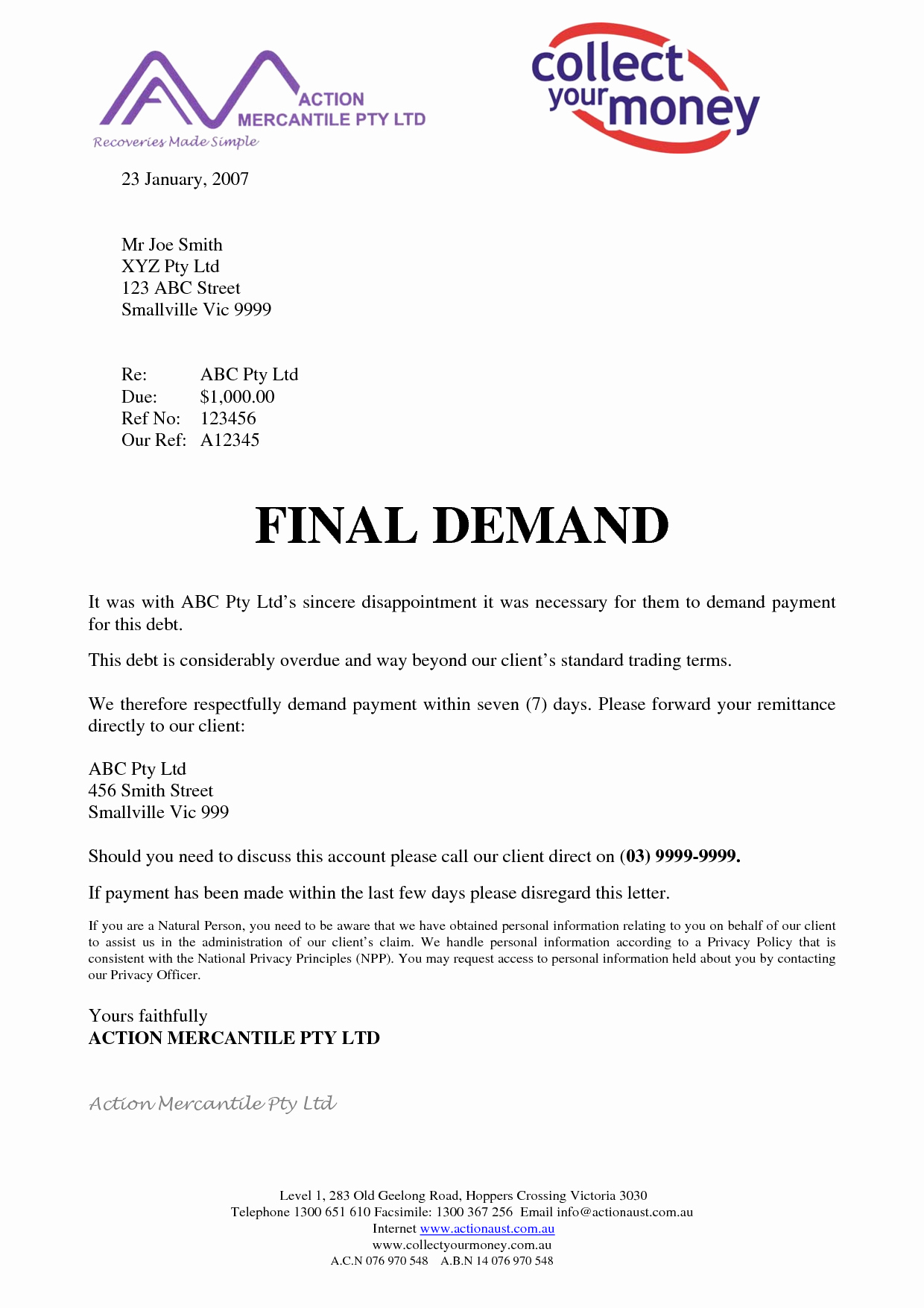 Sample Demand for Payment Letter Awesome Best S Of Final Demand Letter Final Demand Letter