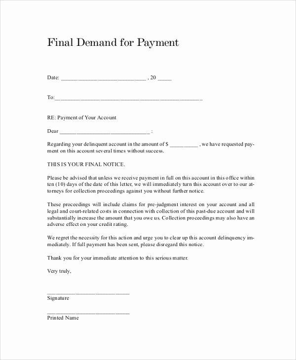 Sample Demand for Payment Letter Fresh Sample Demand Letter 7 Documents In Pdf Word