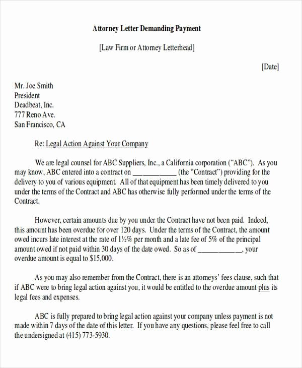 Sample Demand for Payment Letter New Demand Letter Examples